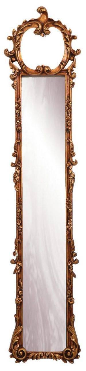 Oglindă îngustă cu ramă aurie