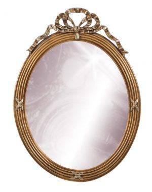 Oglindă ovală cu rama aurie