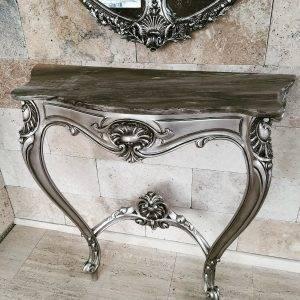 Consolă decorativă argintie