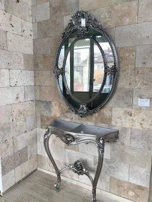 Set oglindă ovală și consolă decorativă